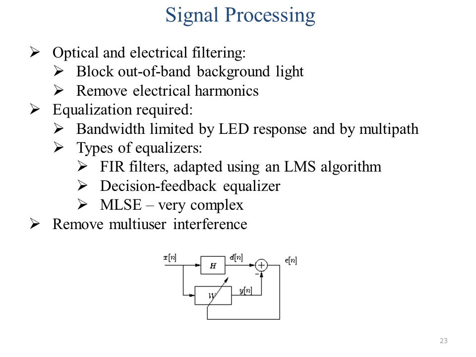Signal Processing Optical and electrical filtering: