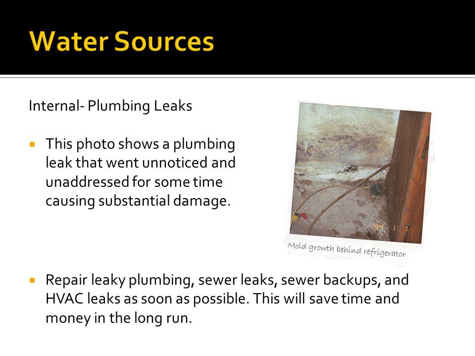 Water Sources Internal- Plumbing Leaks