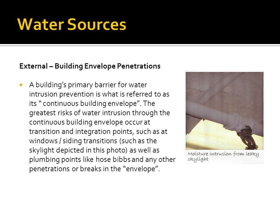 Water Sources External – Building Envelope Penetrations