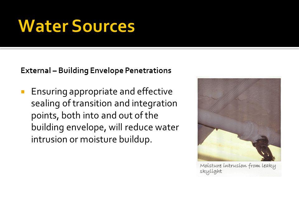 Water Sources External – Building Envelope Penetrations.