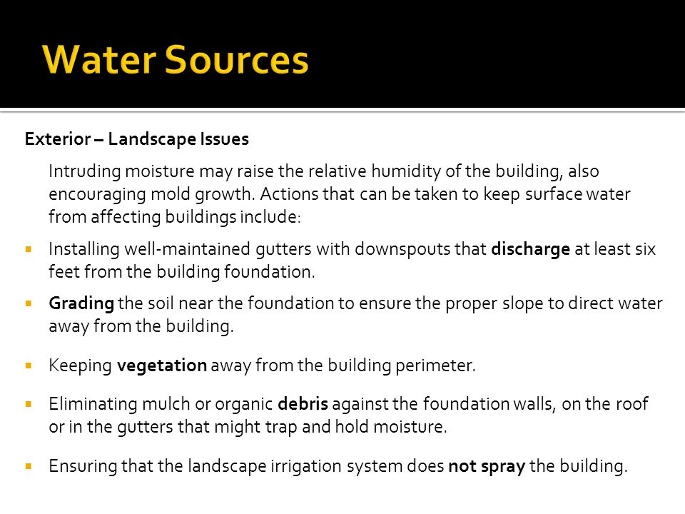 Water Sources Exterior – Landscape Issues