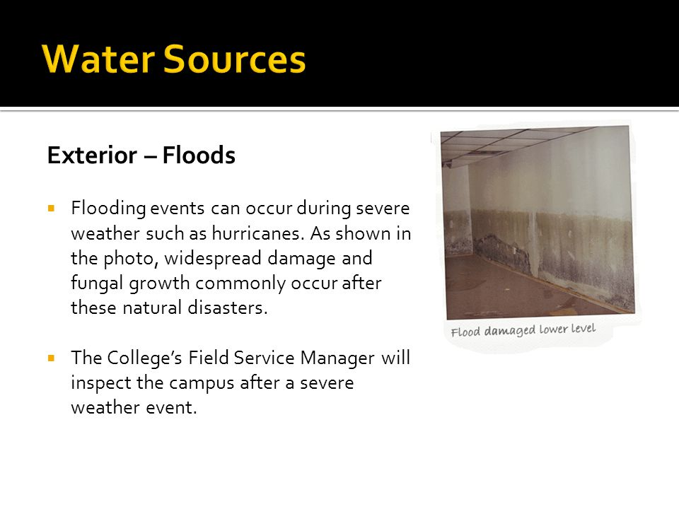 Water Sources Exterior – Floods