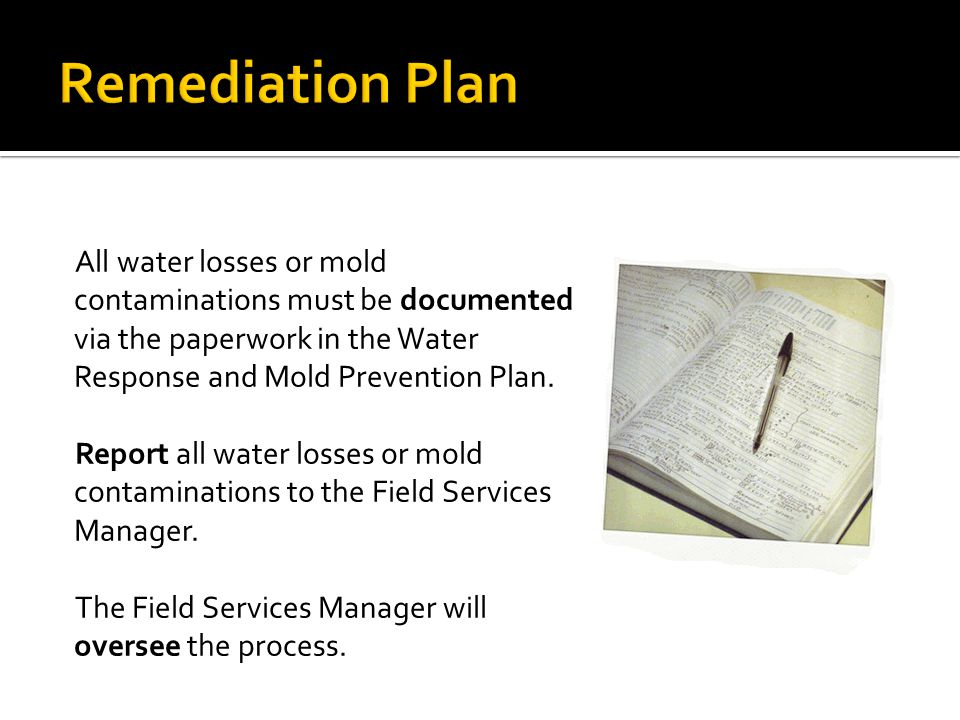Remediation Plan All water losses or mold contaminations must be documented via the paperwork in the Water Response and Mold Prevention Plan.