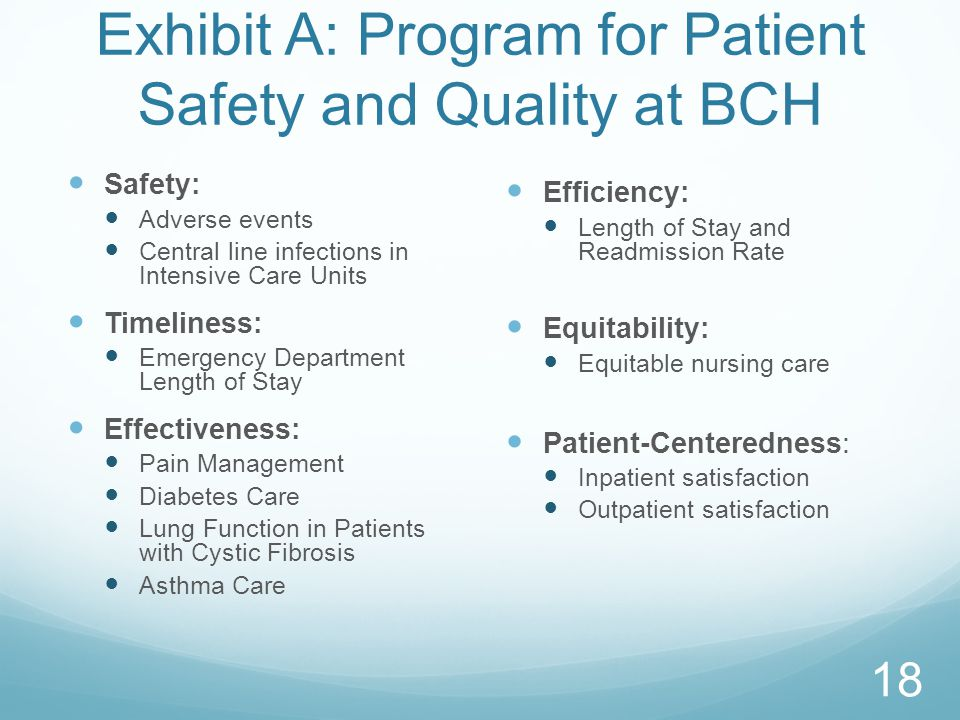 Exhibit A: Program for Patient Safety and Quality at BCH
