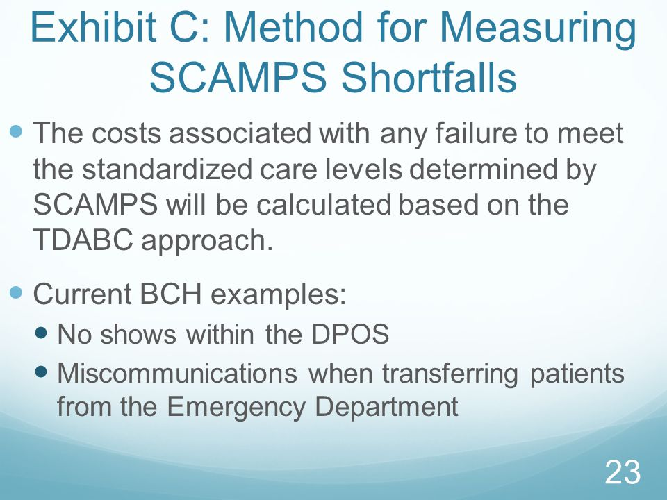 Exhibit C: Method for Measuring SCAMPS Shortfalls