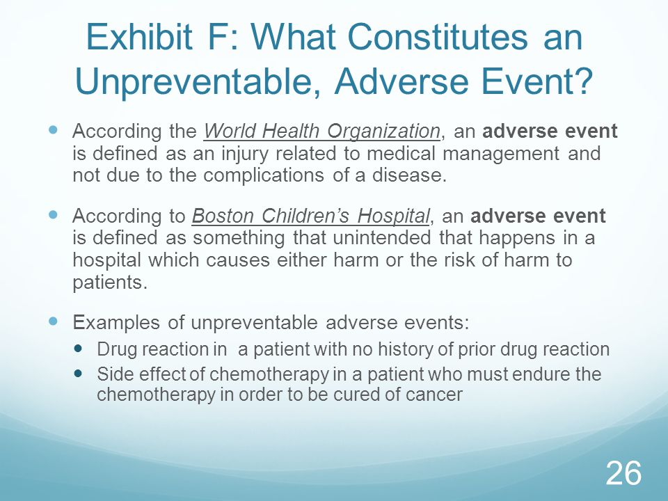 Exhibit F: What Constitutes an Unpreventable, Adverse Event
