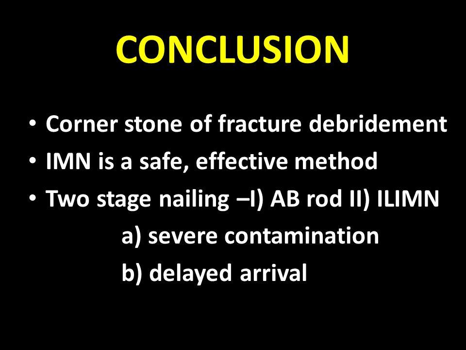 CONCLUSION Corner stone of fracture debridement