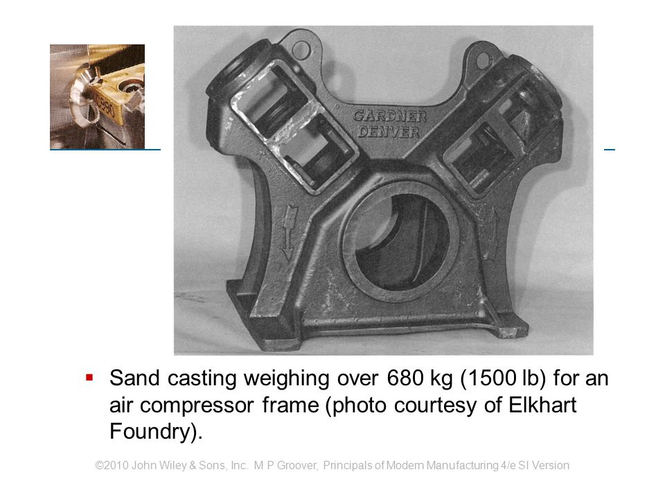 Sand casting weighing over 680 kg (1500 lb) for an air compressor frame (photo courtesy of Elkhart Foundry).