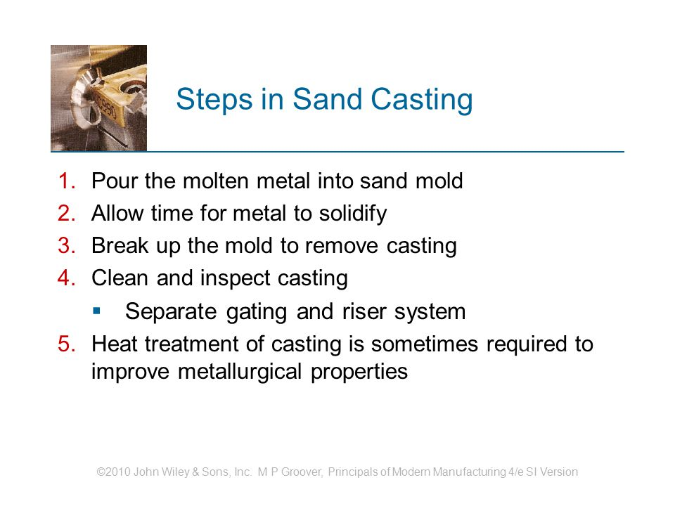 Steps in Sand Casting Separate gating and riser system