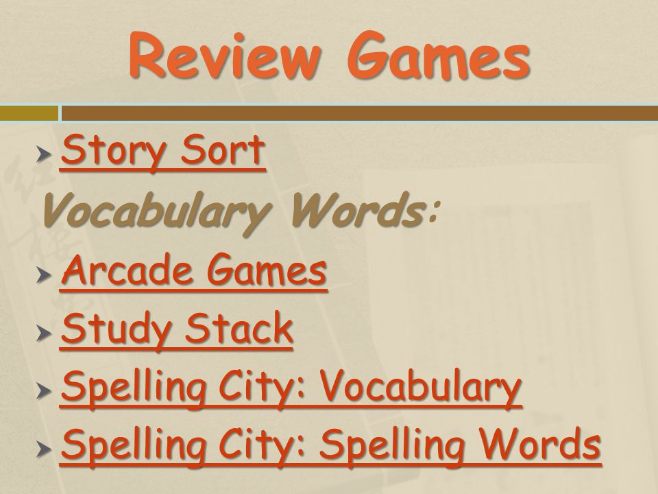 Review Games Vocabulary Words: Story Sort Arcade Games Study Stack