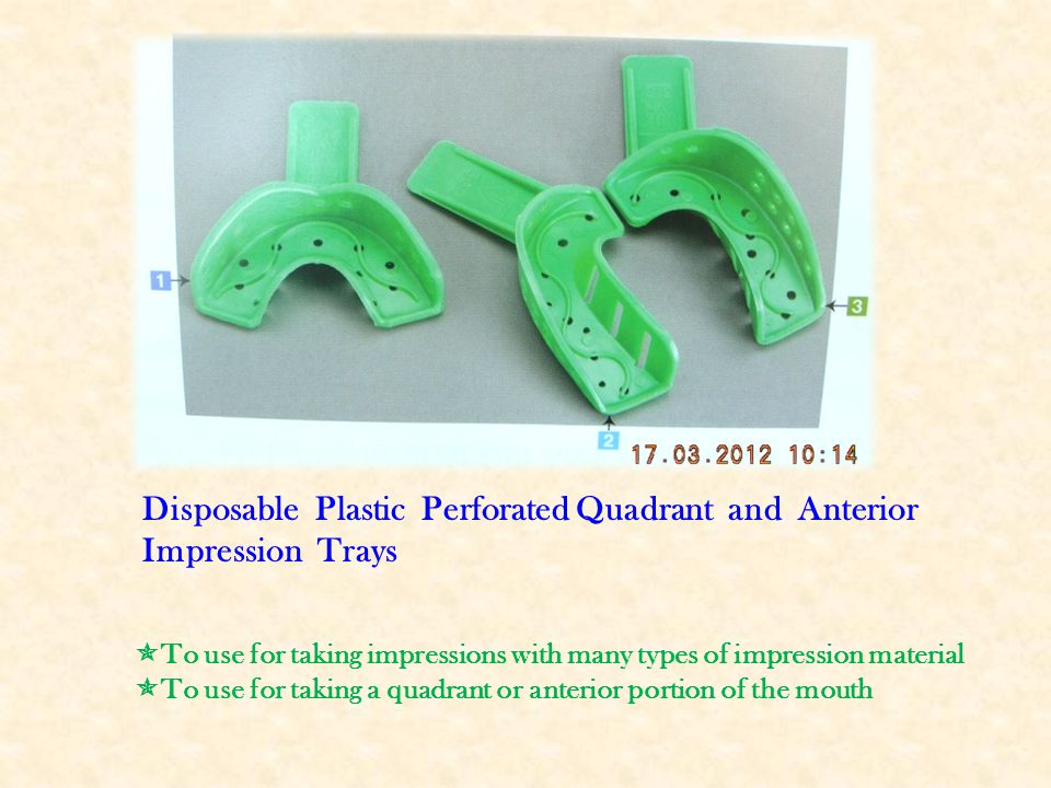 Disposable Plastic Perforated Quadrant and Anterior Impression Trays