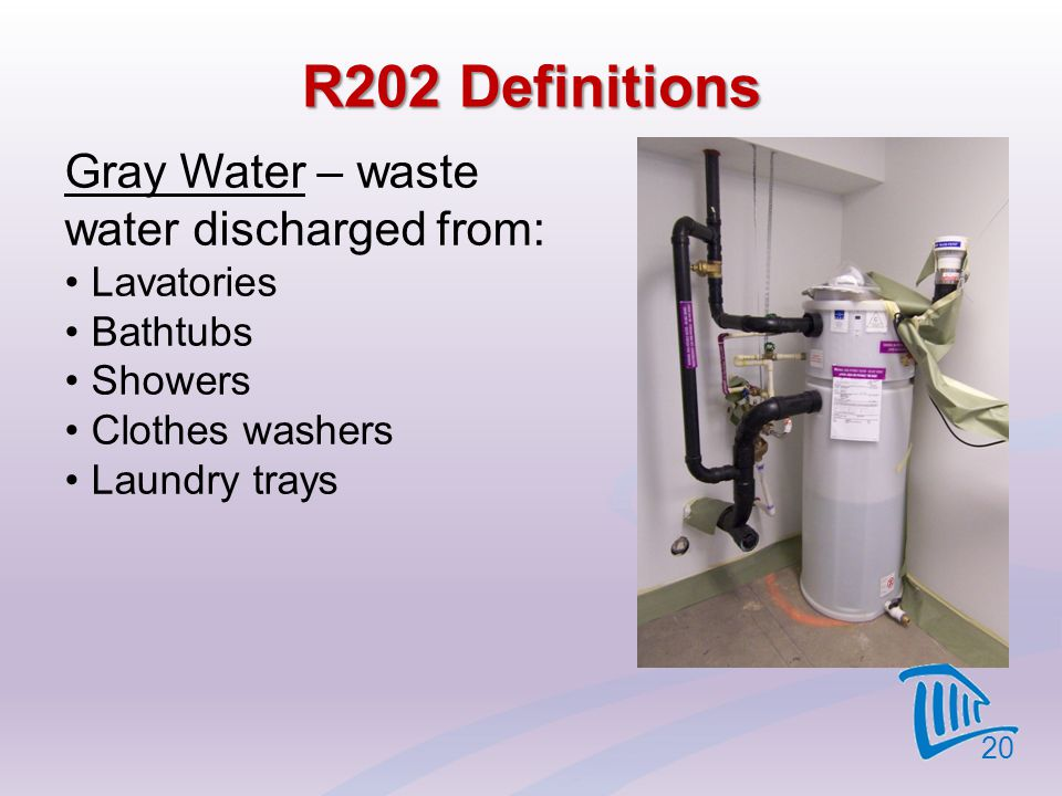 R202 Definitions Gray Water – waste water discharged from: Lavatories
