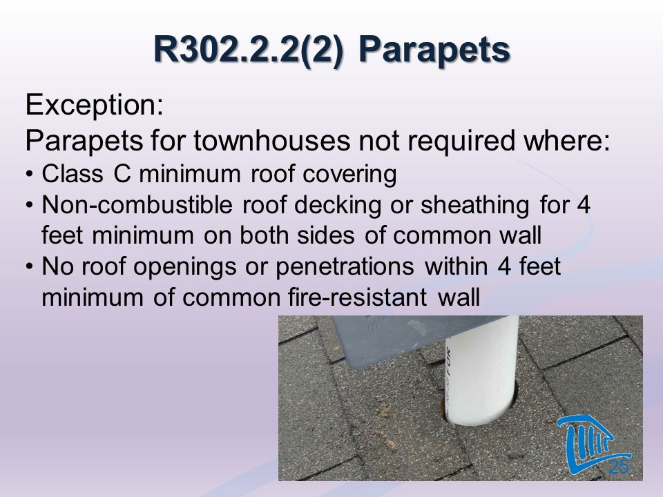 R302.2.2(2) Parapets Exception: