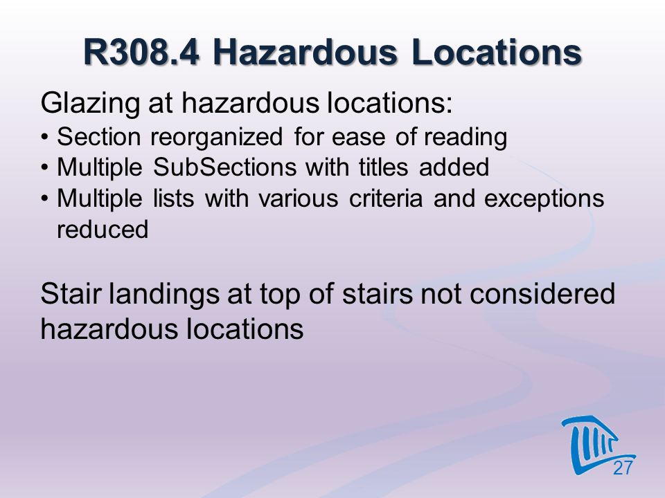 R308.4 Hazardous Locations Glazing at hazardous locations: