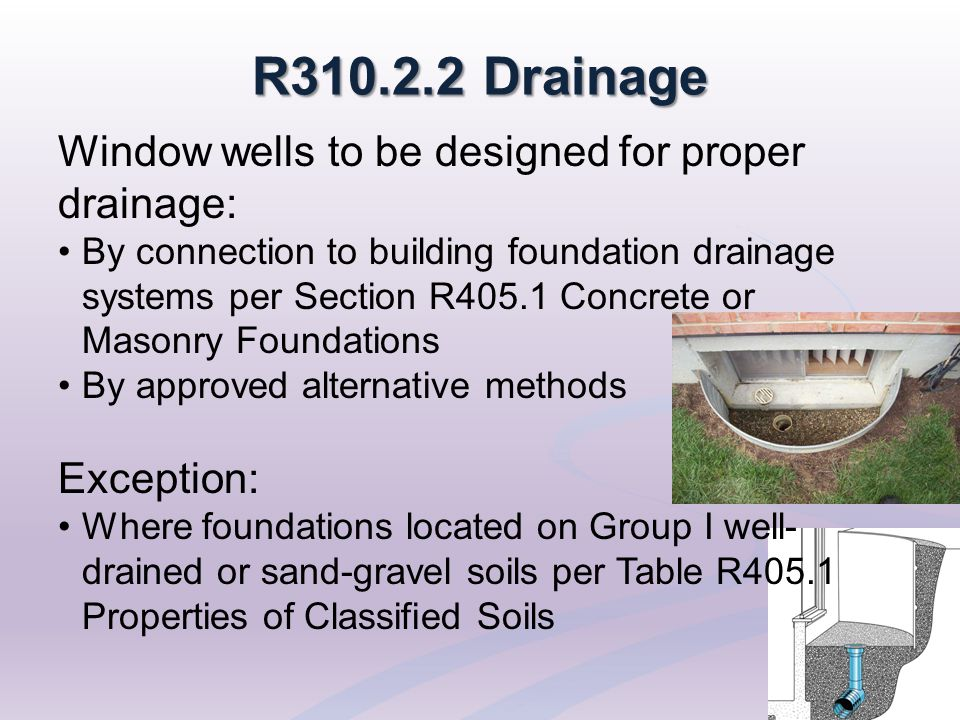 R310.2.2 Drainage Window wells to be designed for proper drainage: