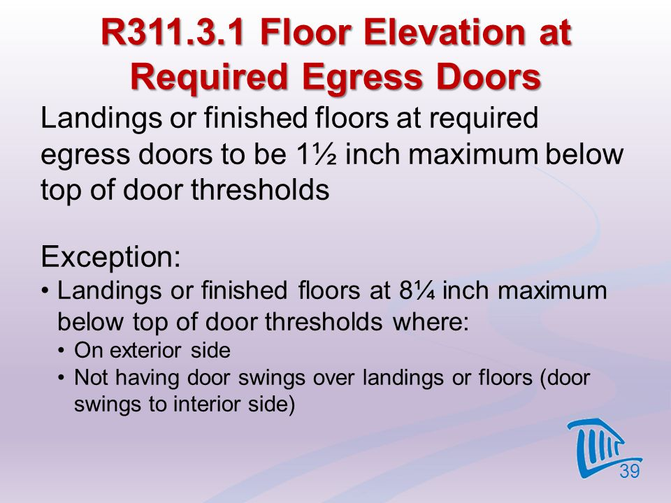 R311.3.1 Floor Elevation at Required Egress Doors