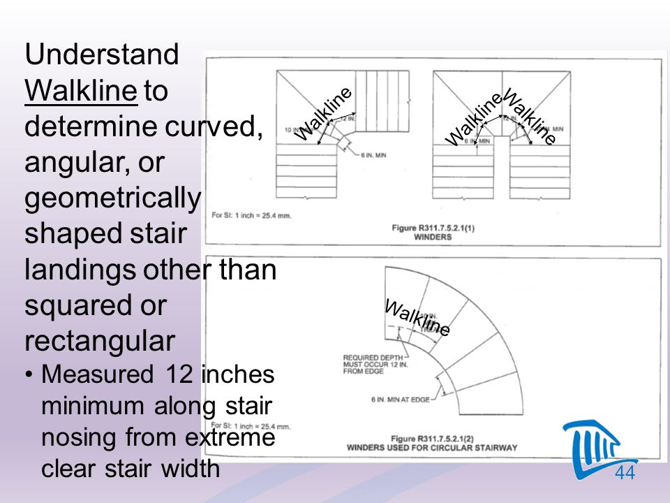 4/12/2017 Understand Walkline to determine curved, angular, or geometrically shaped stair landings other than squared or rectangular.