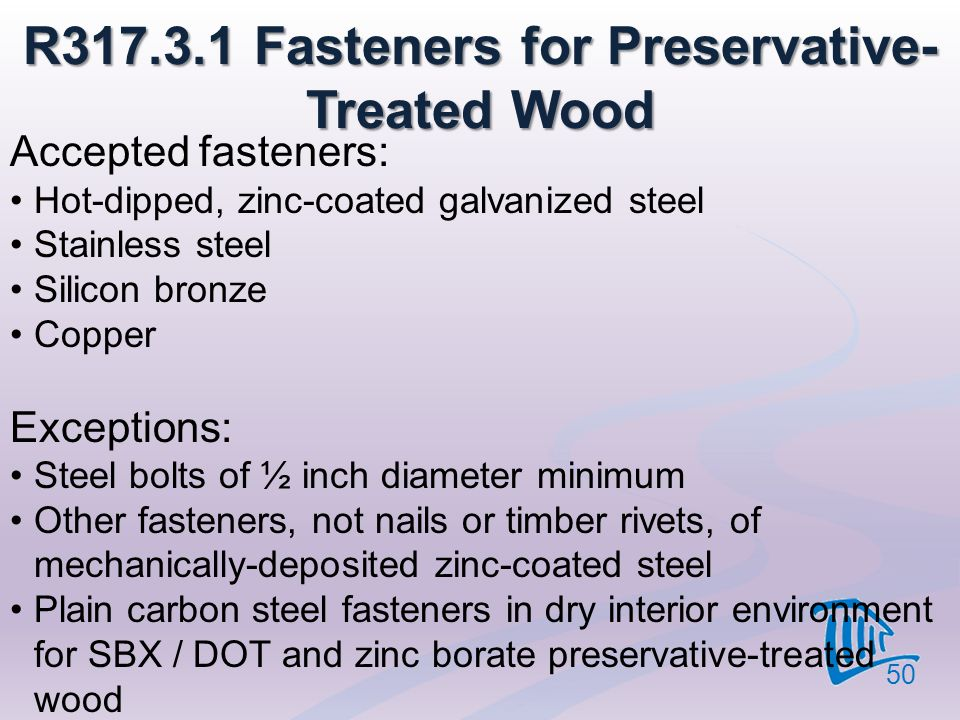 R317.3.1 Fasteners for Preservative-Treated Wood