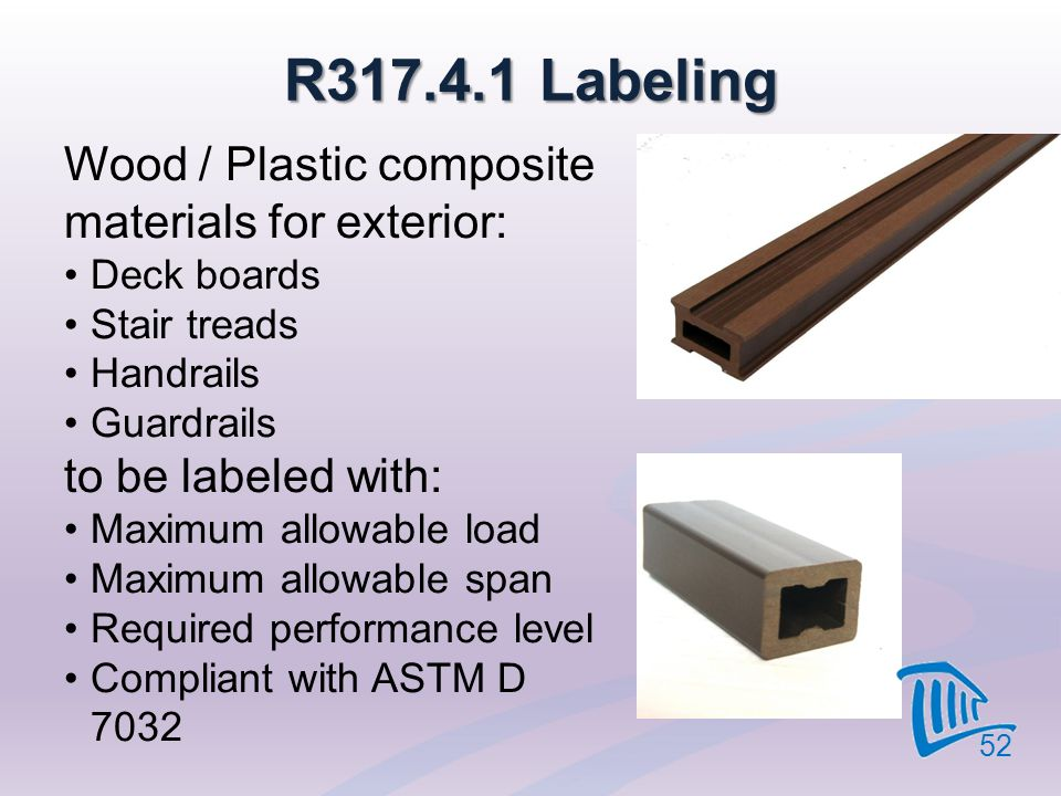 R317.4.1 Labeling Wood / Plastic composite materials for exterior: