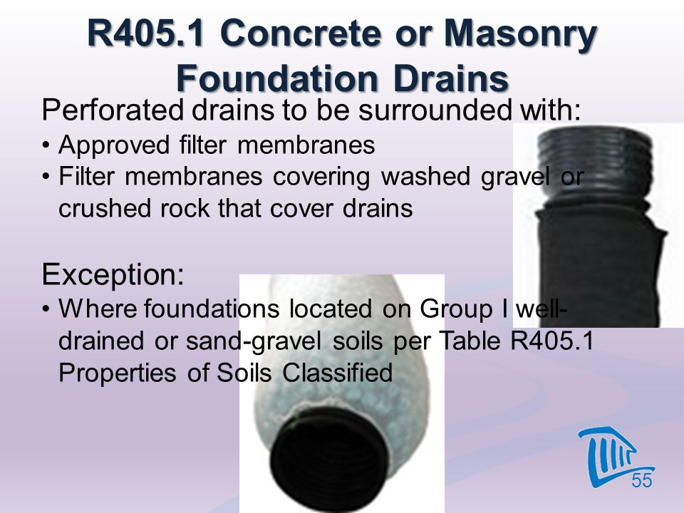 R405.1 Concrete or Masonry Foundation Drains
