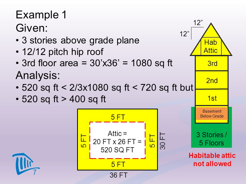 Example 1 Given: Analysis: 3 stories above grade plane