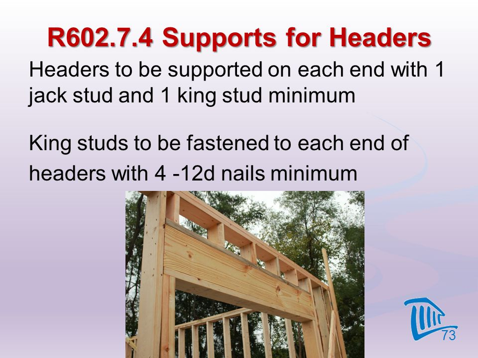 4/12/2017 R602.7.4 Supports for Headers. Headers to be supported on each end with 1 jack stud and 1 king stud minimum.
