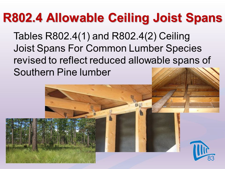 R802.4 Allowable Ceiling Joist Spans