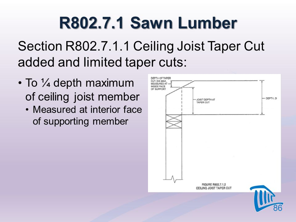 4/12/2017 R802.7.1 Sawn Lumber. Section R802.7.1.1 Ceiling Joist Taper Cut added and limited taper cuts: