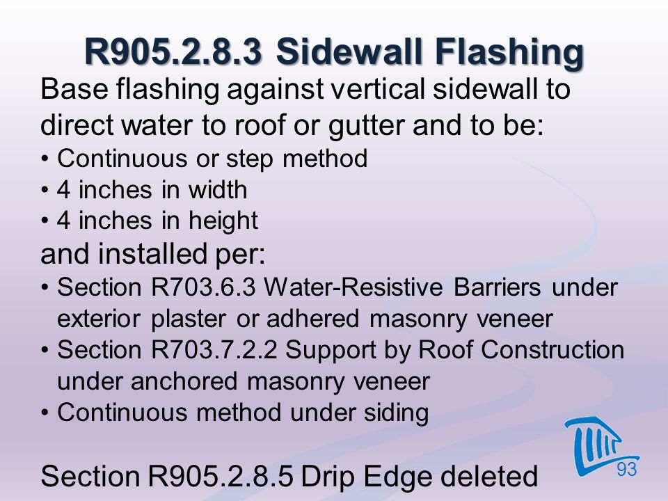 4/12/2017 R905.2.8.3 Sidewall Flashing. Base flashing against vertical sidewall to direct water to roof or gutter and to be: