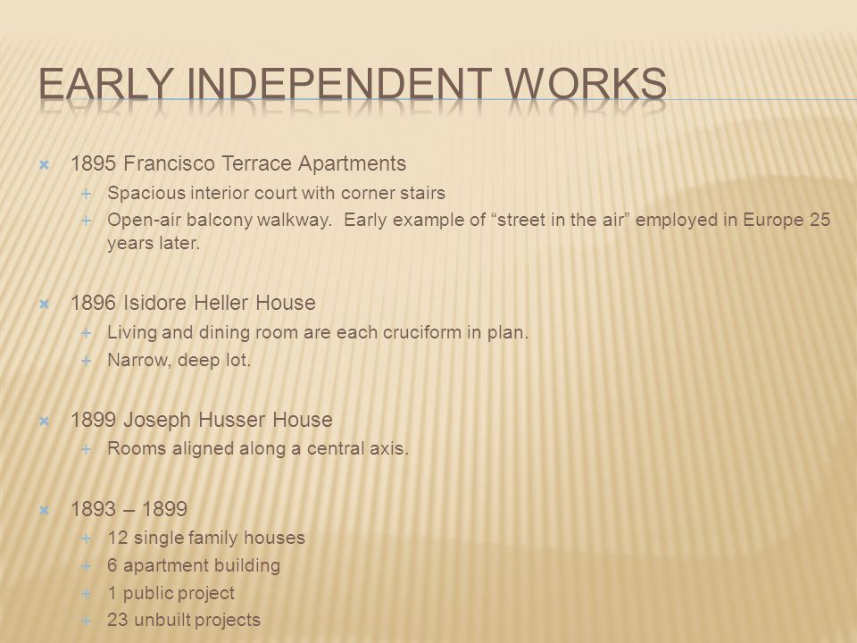 Early independent works