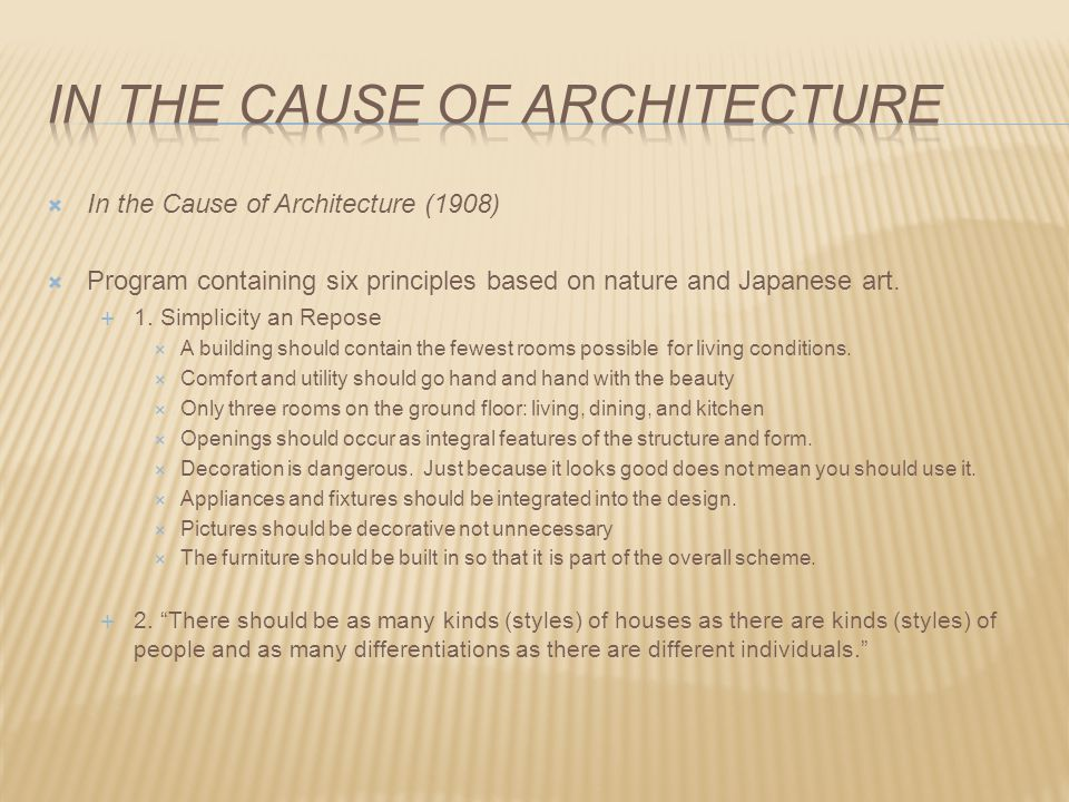 In the cause of architecture