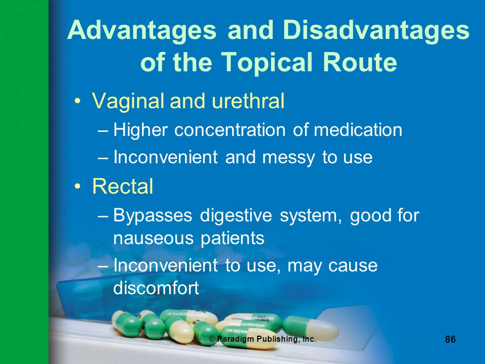 Advantages and Disadvantages of the Topical Route