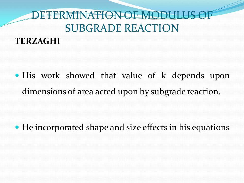 DETERMINATION OF MODULUS OF SUBGRADE REACTION