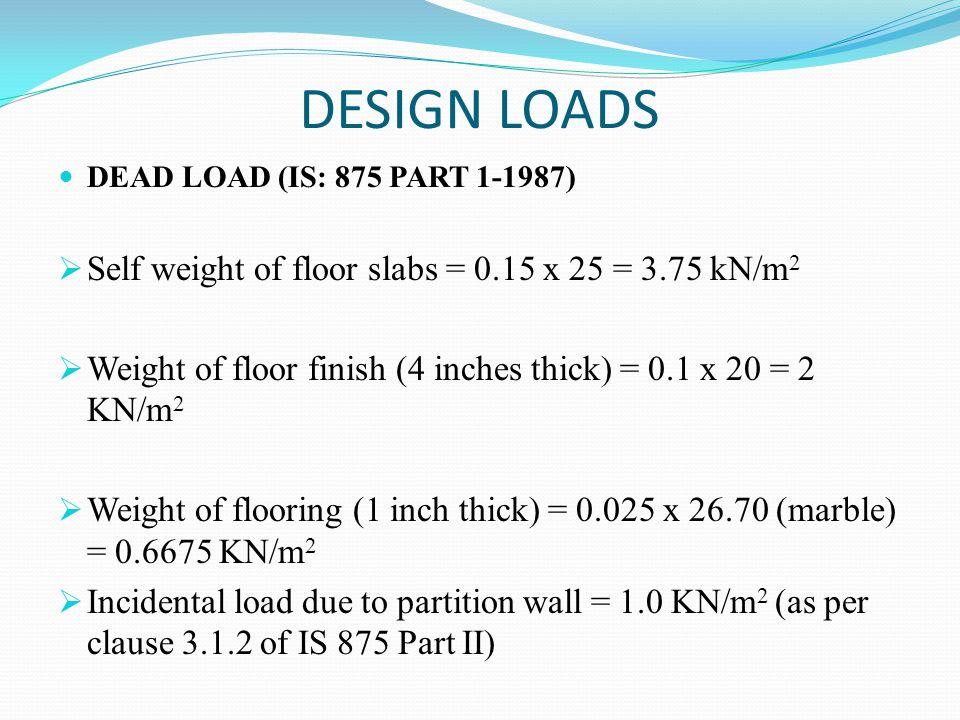 DESIGN LOADS Self weight of floor slabs = 0.15 x 25 = 3.75 kN/m2