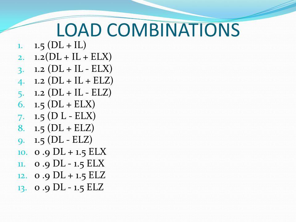 LOAD COMBINATIONS 1.5 (DL + IL) 1.2(DL + IL + ELX) 1.2 (DL + IL - ELX)