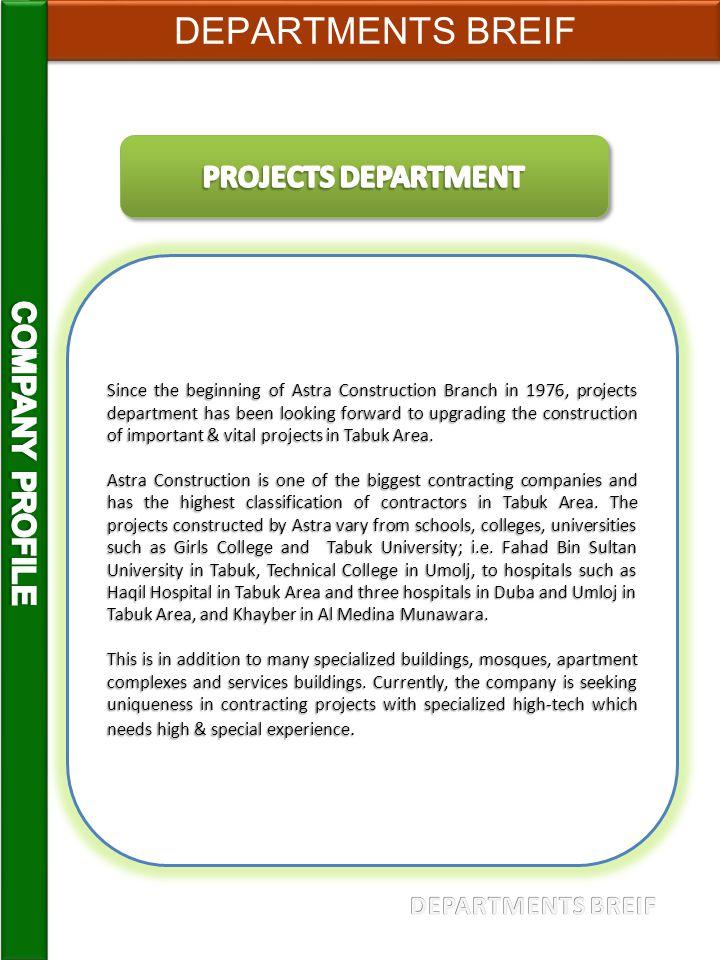 DEPARTMENTS BREIF PROJECTS DEPARTMENT COMPANY PROFILE