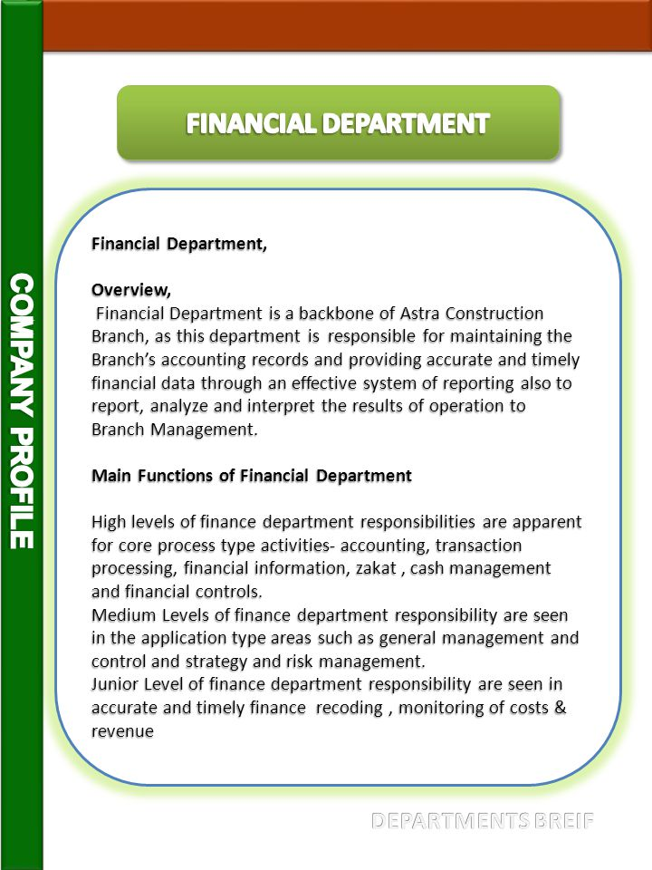 FINANCIAL DEPARTMENT COMPANY PROFILE DEPARTMENTS BREIF
