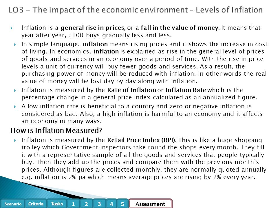 LO3 - The impact of the economic environment – Levels of Inflation