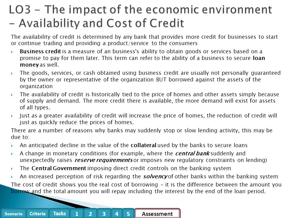 LO3 - The impact of the economic environment - Availability and Cost of Credit