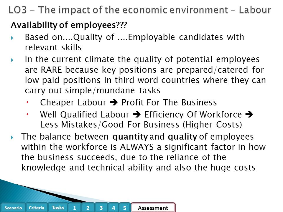 LO3 - The impact of the economic environment - Labour