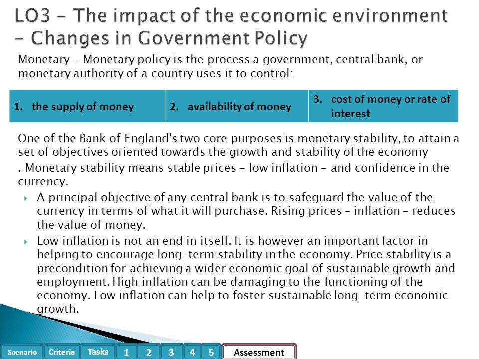 LO3 - The impact of the economic environment - Changes in Government Policy