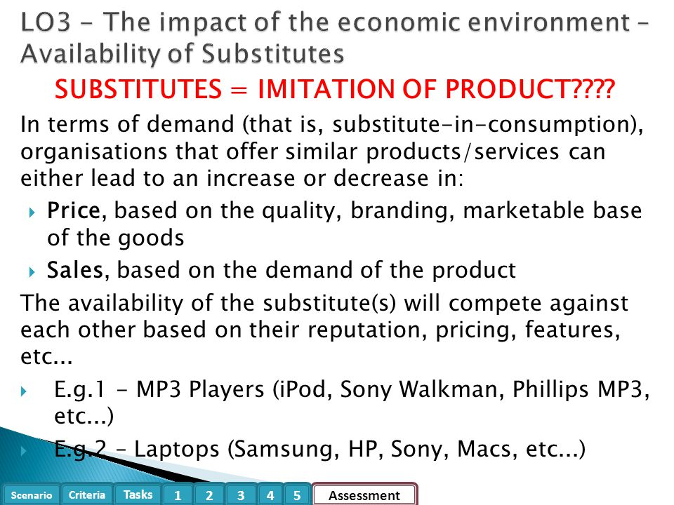 SUBSTITUTES = IMITATION OF PRODUCT