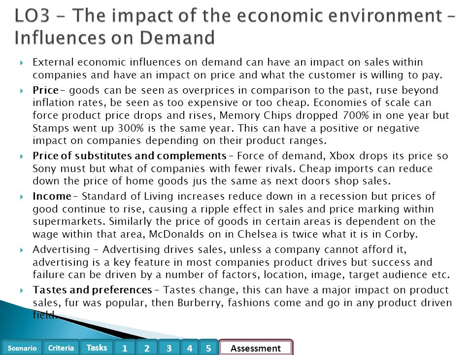 LO3 - The impact of the economic environment – Influences on Demand