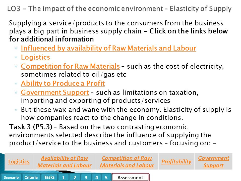 LO3 - The impact of the economic environment – Elasticity of Supply