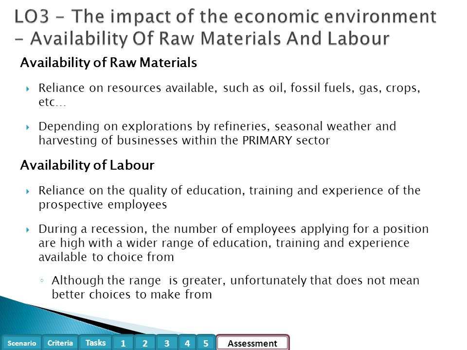 LO3 - The impact of the economic environment - Availability Of Raw Materials And Labour