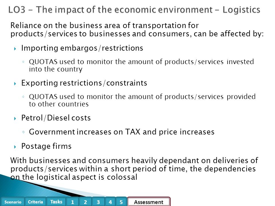 LO3 - The impact of the economic environment - Logistics