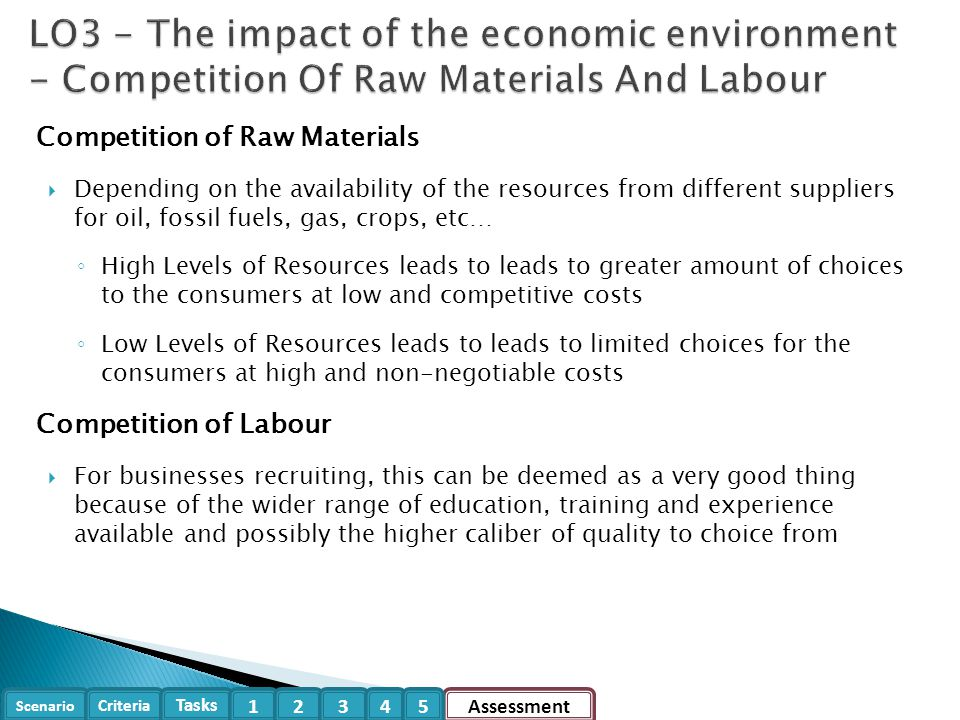 LO3 - The impact of the economic environment - Competition Of Raw Materials And Labour
