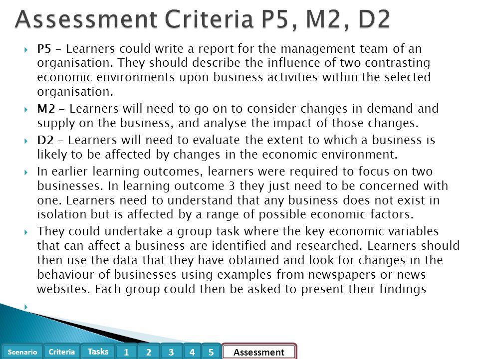 Assessment Criteria P5, M2, D2