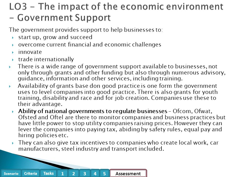 LO3 - The impact of the economic environment - Government Support