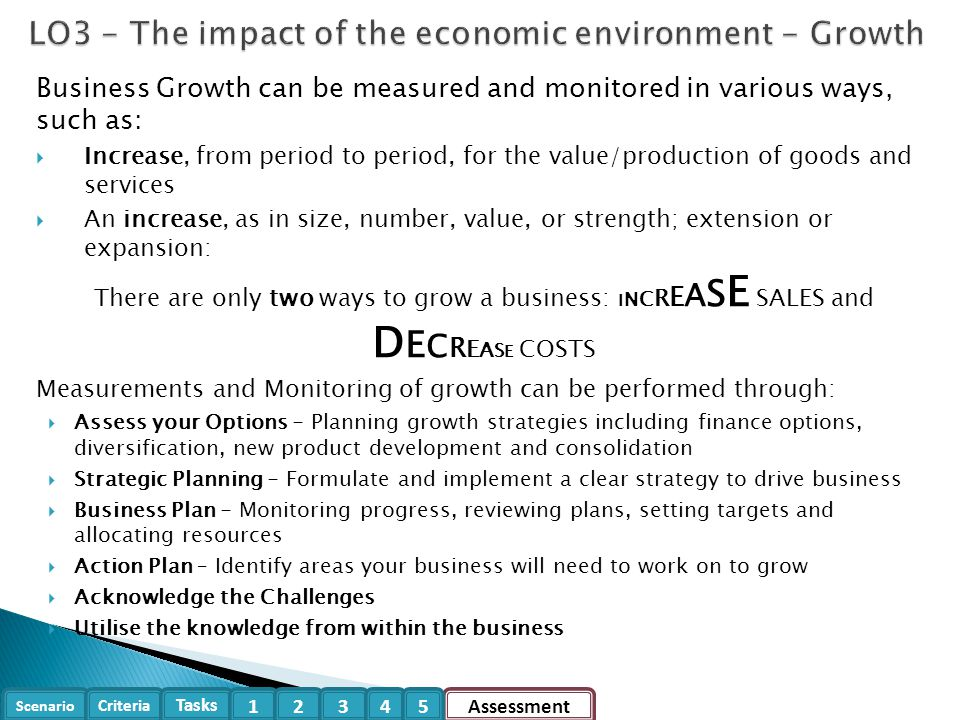 LO3 - The impact of the economic environment - Growth